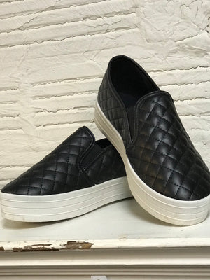 Quilted Black Slip On Sneakers