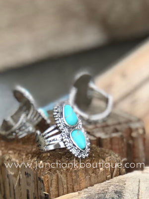 Double Turquoise Stone Ring