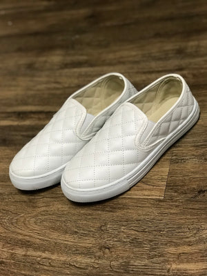 Quilted White Slip On Sneakers
