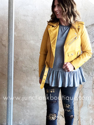 Faux Leather Mustard Moto Jacket