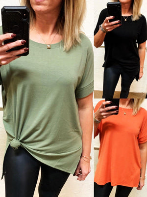 Carefree Rolled Sleeve Crew Neck Top