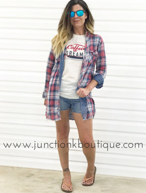 Classic Flannel Button Up Tunic Top