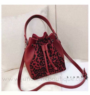 Red Leopard Bucket Bag