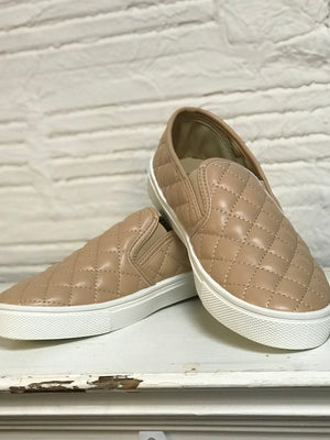 Quilted Tan Slip On Sneakers