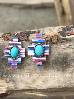 Serape Turquoise Leather Earrings