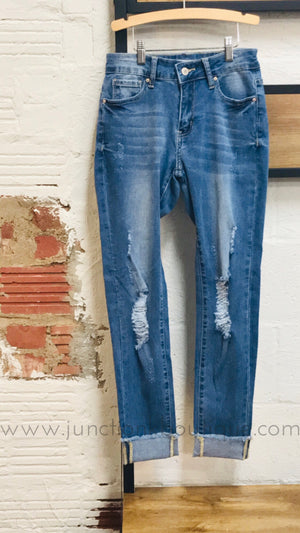 Mid Rise Ankle Skinny Cuffed Jeans