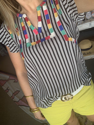 Color Block Embroidered Top