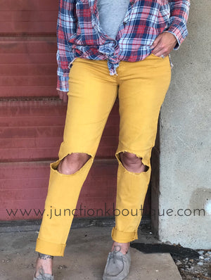 Distressed Mustard Boyfriend Jeans