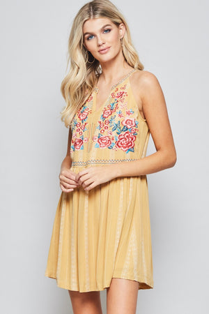 Mustard Embroidered Tank Dress