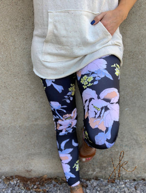 High Waist Tropical Floral Print Full Leggings