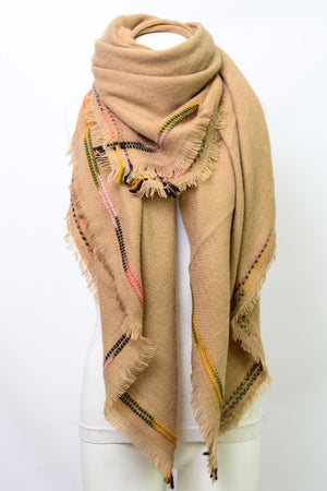 Frayed Edge Hem Blanket Scarf
