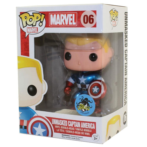Funko POP! POP! Marvel # 06: UNMASKED CAPTAIN AMERICA - Comikaze Exclusive