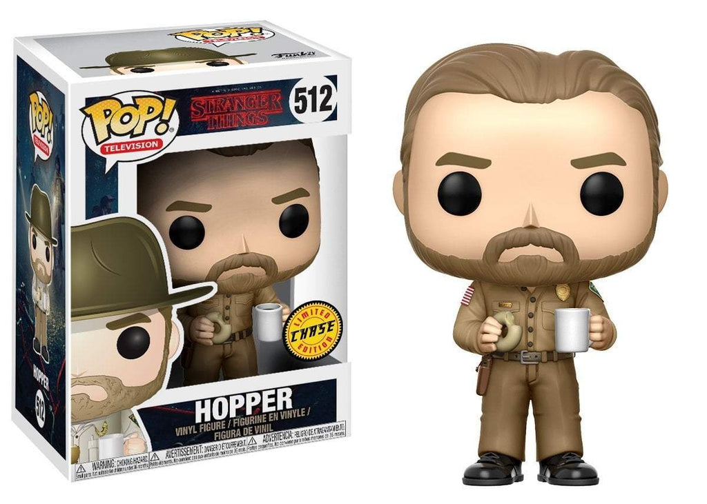 Funko POP! POP! TV #512: Stranger Things: HOPPER (with donut) [WITHOUT HAT} - Chase Limited Edition