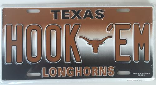TEXAS LONGHORNS LICENSE PLATE HOOK 'EM