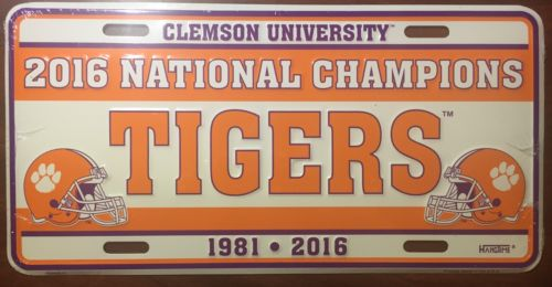 CLEMSON TIGERS 2016 NATIONAL CHAMPIONS 1981 CAR TRUCK TAG  LICENSE PLATE SIGN