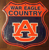 AUBURN TIGERS SHIELD WAR EAGLE COUNTRY EMBOSSED METAL SIGN