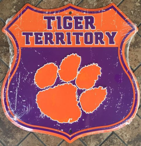 CLEMSON UNIVERSITY TIGERS SHIELD TIGER TERRITORY SIGN