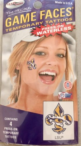 LSU TIGERS DECAL TEMPORARY TATTOO GAME FACES FLEUR DE LIS
