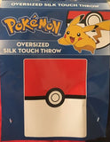 Pokemon Silk Touch Oversized Throw Blanket   Red & White Gotta Catch 'em All!