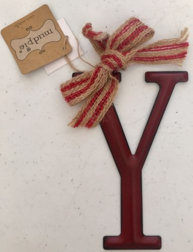Mud Pie Tin Initial Y Decorative Hanging Ornament Burlap Red Bow New
