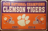 CLEMSON UNIVERSITY TIGERS 2016 NATIONAL CHAMPIONS 12X8