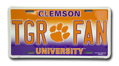 CLEMSON UNIVERSITY TIGERS LICENCE PLATE