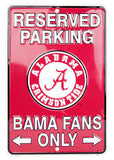 ALABAMA RESERVED PARKING BAMA FANS ONLY METAL SIGN