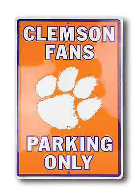 CLEMSON FANS PARKING ONLY METAL SIGN LARGE