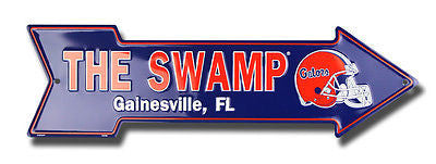FLORIDA GATORS THE SWAMP EMBOSSED METAL ARROW SIGN