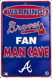 ATLANTA BRAVES SIGN WARNING BRAVES FAN MAN CAVE METAL PARKING SIGN
