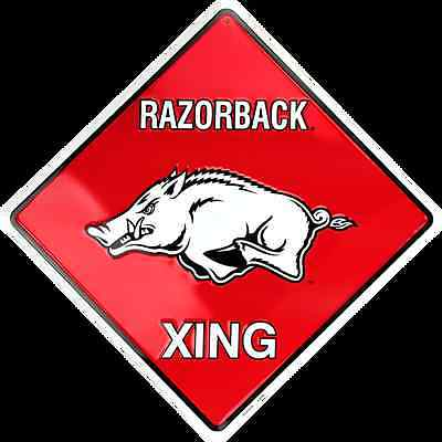 "ARKANSAS RAZORBACK CROSSING SIGN 12"" X 12"" METAL"