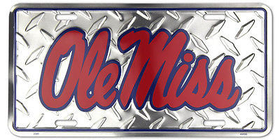 OLE MISS REBELS LICENSE PLATE DIAMOND
