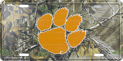 CLEMSON UNIVERSITY TIGERS CAMO LICENSE PLATE