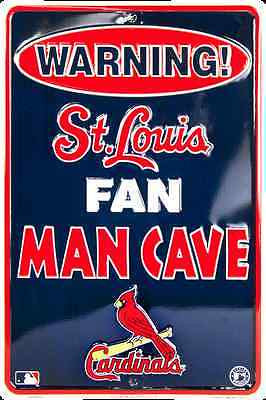 ST LOUIS CARDINALS SIGN WARNING FAN MAN CAVE