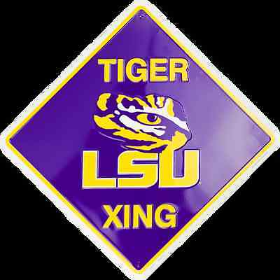 "LSU TIGERS 12 x 12"" EMBOSSED METAL TIGER XING CROSSING SIGN LOUISIANA STATE"