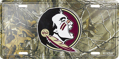 FLORIDA STATE SEMINOLES CAMO LICENSE PLATE