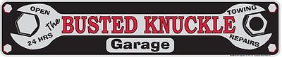 "BUSTED KNUCKLE GARAGE ARROW SIGN  20"" X 6"" METAL TIN BAR MAN CAVE REPAIR SHOP 24"