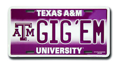 TEXAS A&M UNIVERSITY PLATE GIG 'EM