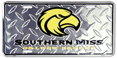 SOUTHERN MISS GOLDEN EAGLES DIAMOND LICENSE PLATE