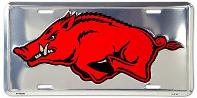 ARKANSAS RAZORBACKS LICENSE PLATE CHROME