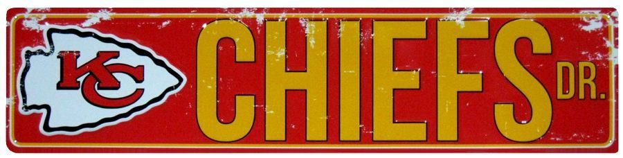 "KANSAS CITY CHIEFS STREET METAL 24 X 5.5"" SIGN DRIVE NFL ROAD DR AVE MAN CAVE"