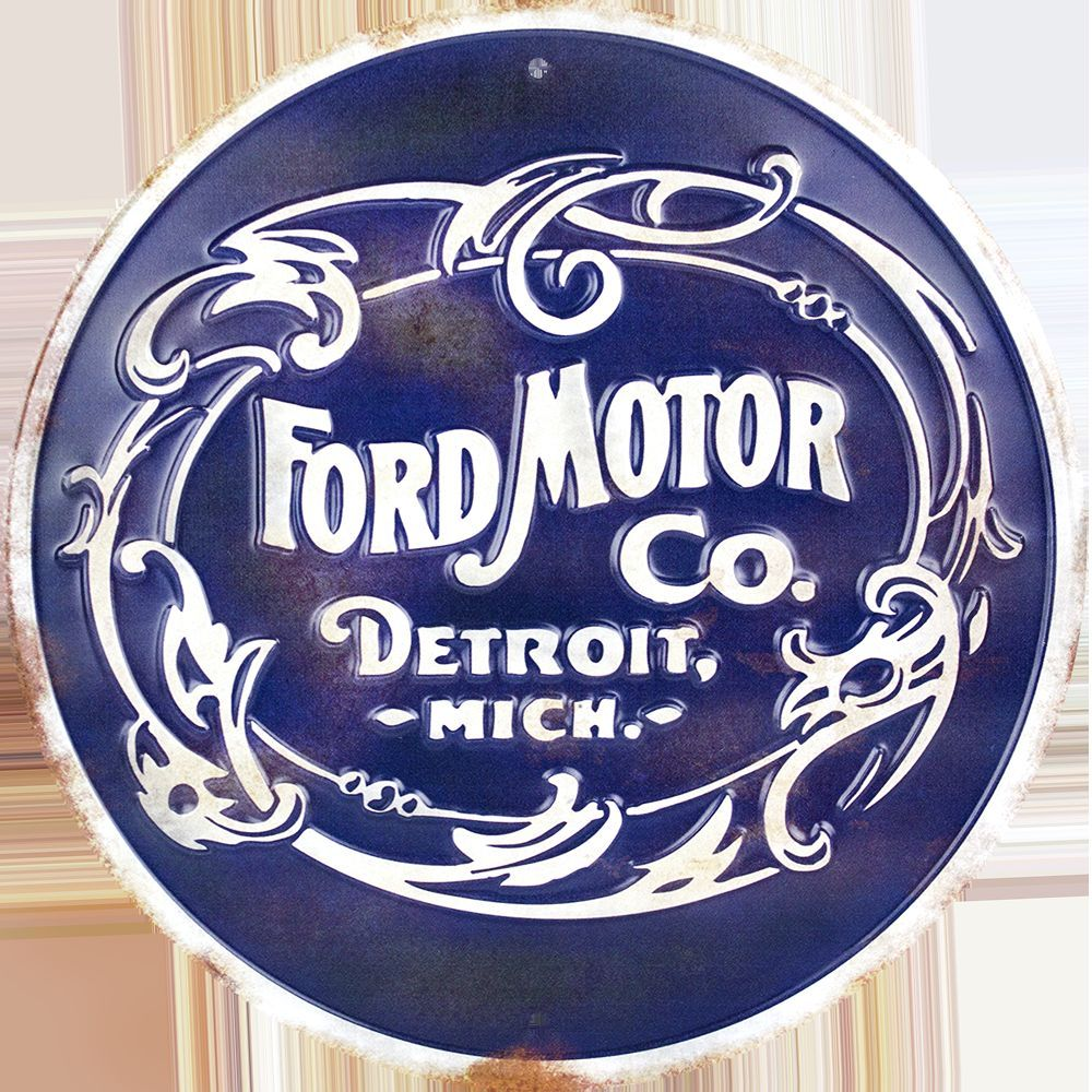 "FORD MOTOR CO DETROIT MICH 12"" ROUND METAL RETRO EMBOSSED SIGN"