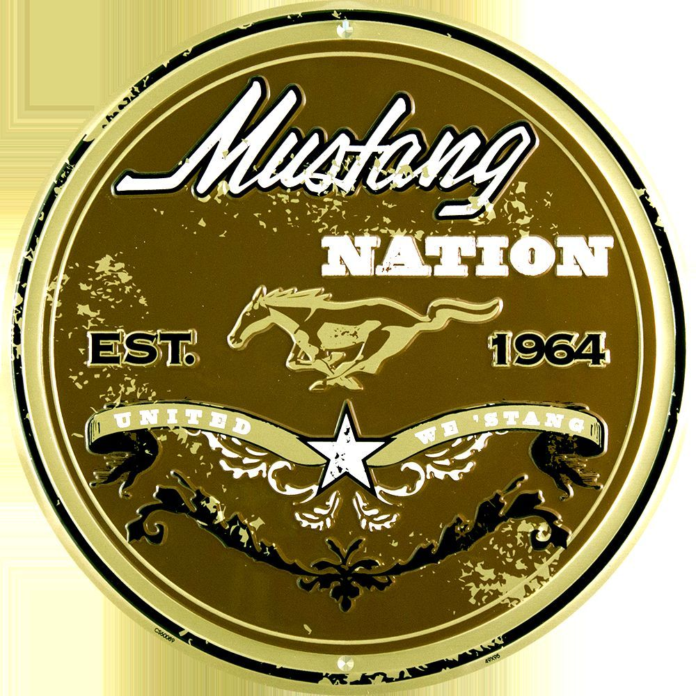 "MUSTANG NATION UNITED WE STAND 12"" ROUND METAL RETRO SIGN"