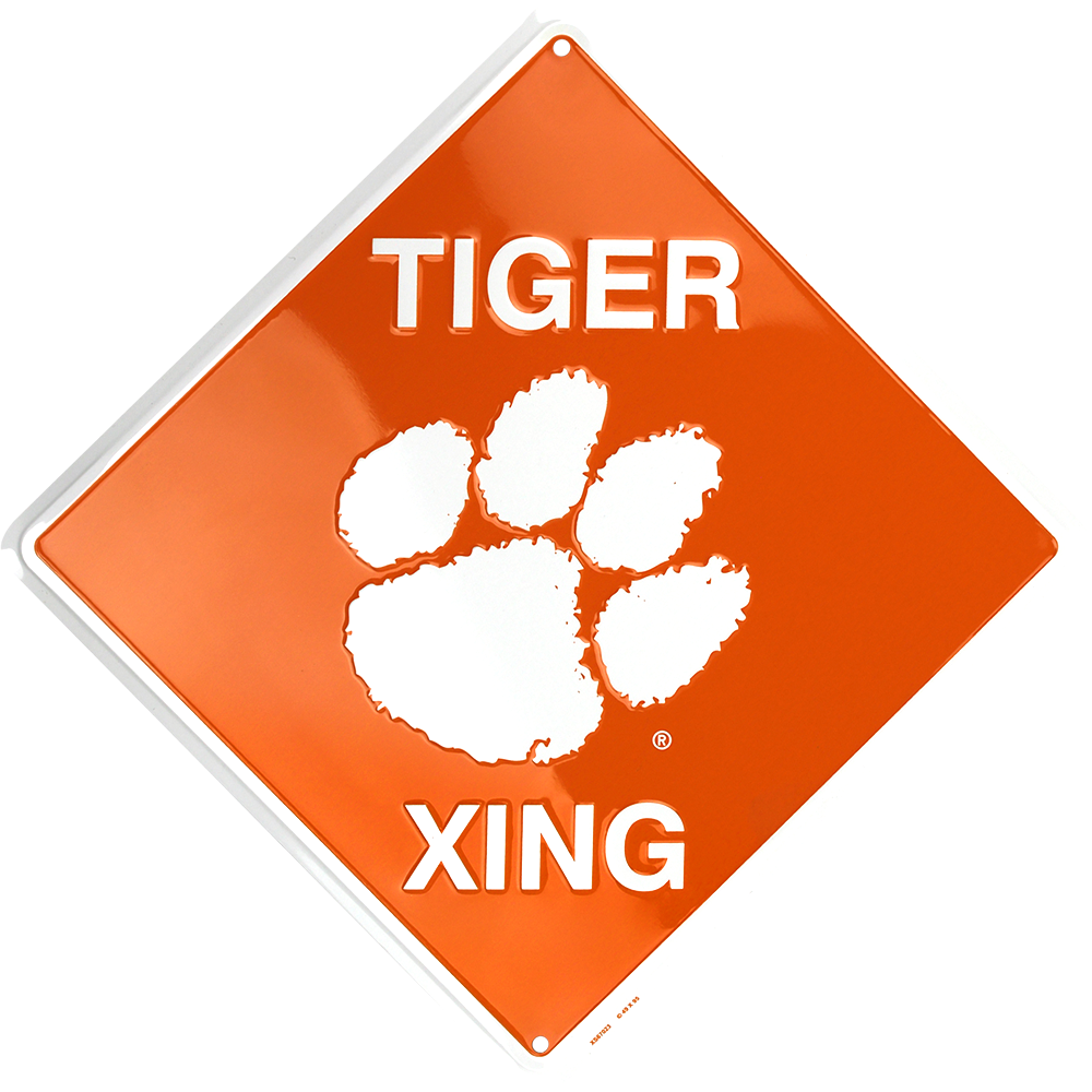 "Clemson Tigers 12 X 12"" Metal Embossed Tiger Xing Crossing Sign University"