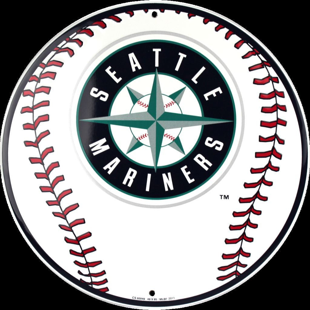 SEATTLE MARINERS ROUND BASEBALL SIGN