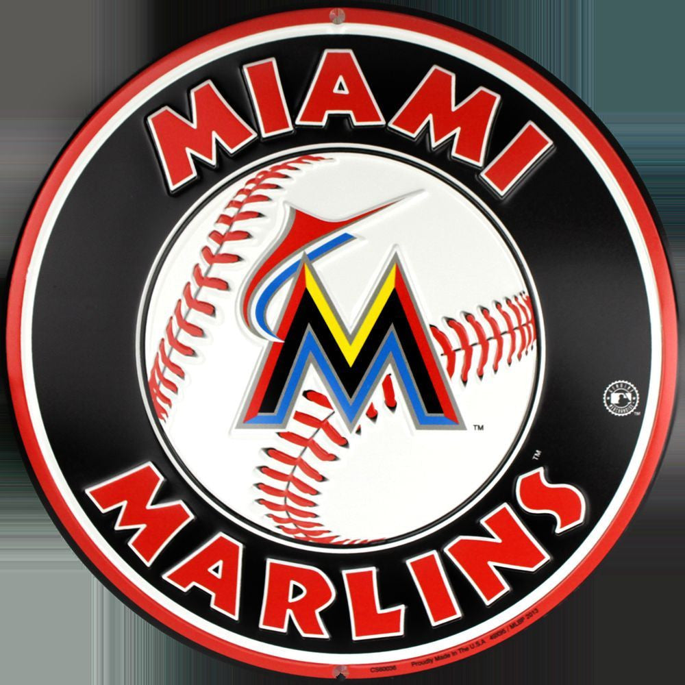 MIAMI MARLINS ROUND METAL BASEBALL SIGN
