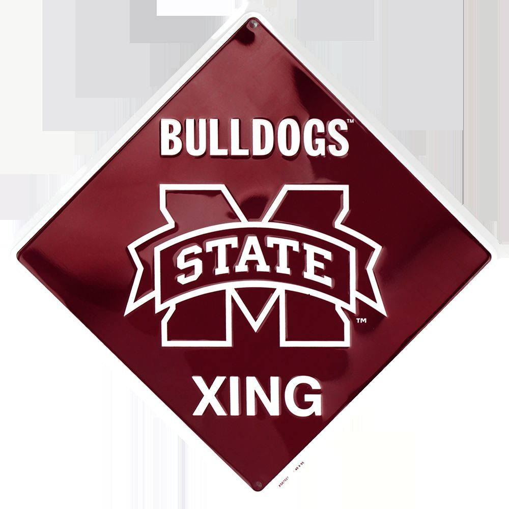 MISSISSIPPI STATE BULLDOGS CROSSING SIGN EMBOSSED METAL