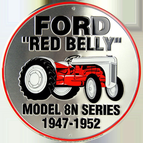 "FORD RACING 12"" ROUND METAL TIN EMBOSSED RED FLAMES"