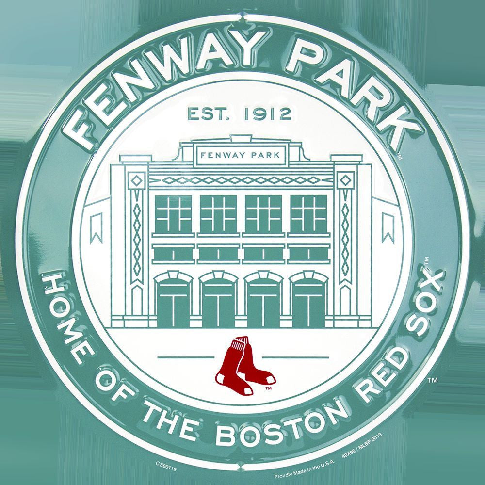 BOSTON RED SOX FENWAY PARK  ROUND METAL BASEBALL SIGN