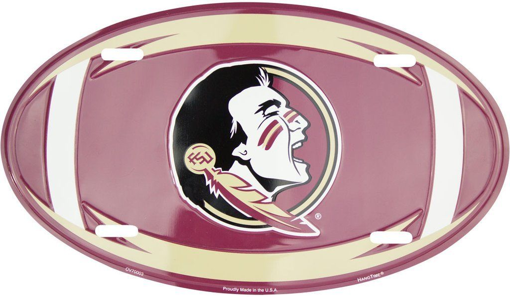 FLORIDA STATE SEMINOLES CAR TAG OVAL FOOTBALL LICENSE PLATE SIGN UNIVERSITY